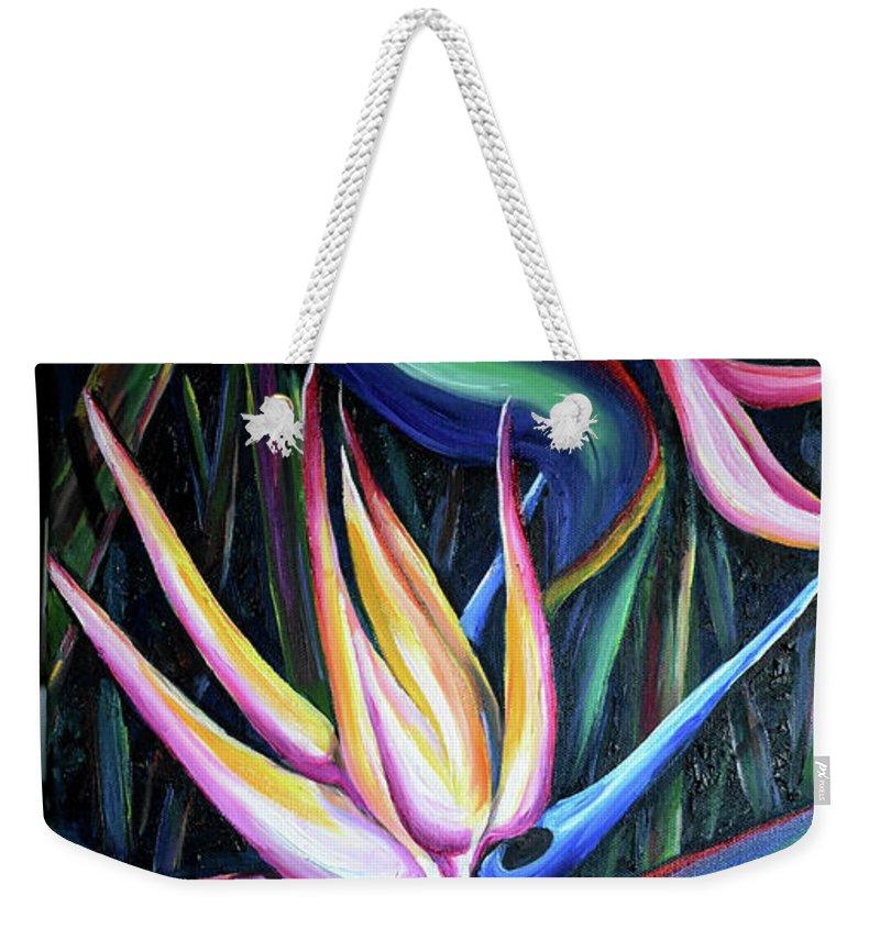 Strelitzia Reginae Weekender Tote Bag featuring the painting Pink Birds Of Paradise by Karin Dawn Kelshall- Best