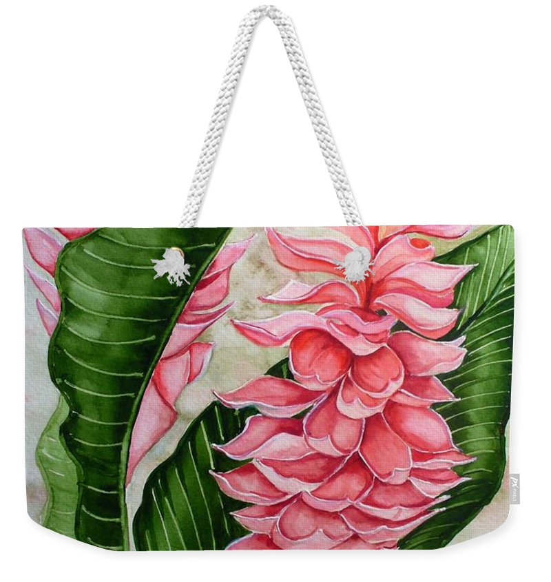 Flower Painting Floral Painting Botanical Painting Ginger Lily Painting Original Watercolor Painting Caribbean Painting Tropical Painting Weekender Tote Bag featuring the painting Pink Ginger Lilies by Karin Dawn Kelshall- Best