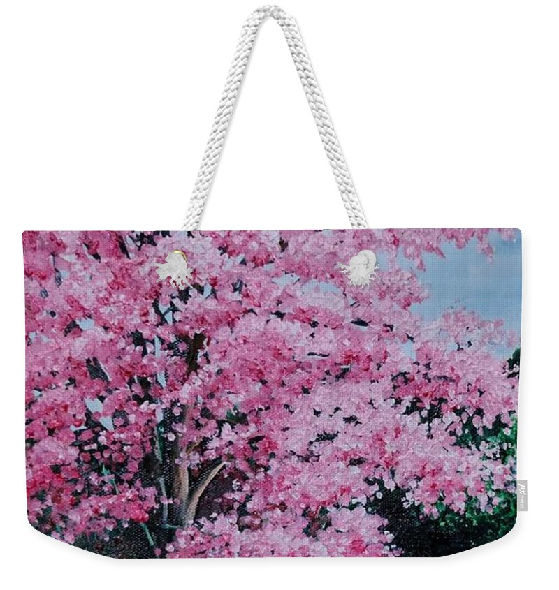 Pink Poui Weekender Tote Bag featuring the painting Pink P Poui by Karin Dawn Kelshall- Best