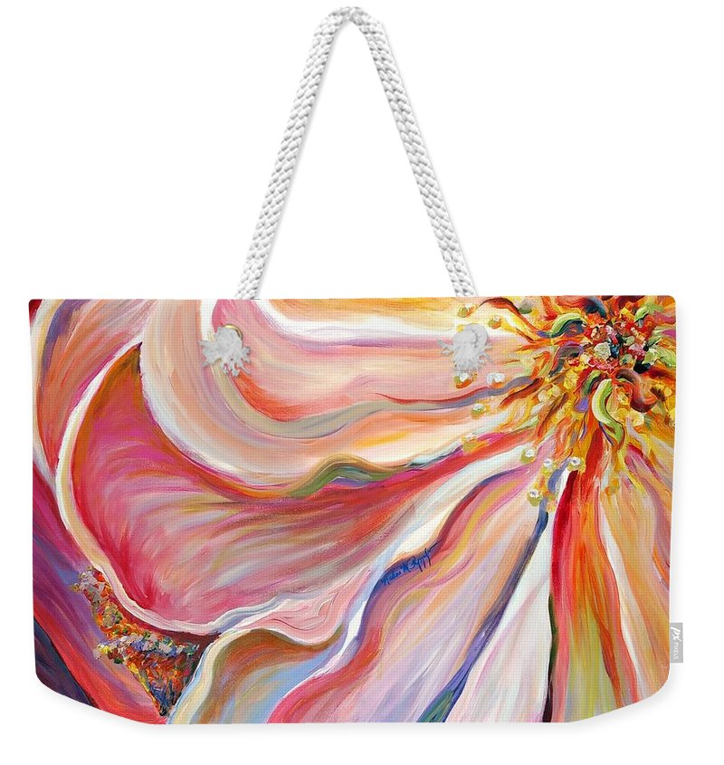 Pink Poppy Weekender Tote Bag featuring the painting Pink Poppy by Nadine Rippelmeyer