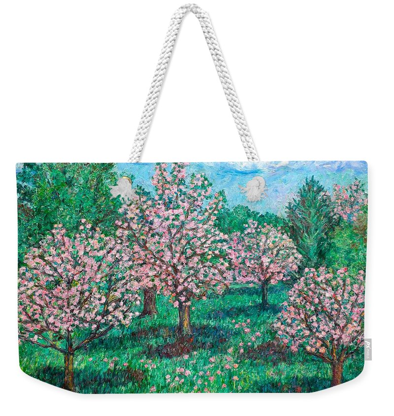 Landscape Weekender Tote Bag featuring the painting Pink Wave by Kendall Kessler