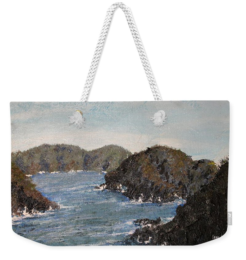 Mexico Weekender Tote Bag featuring the painting Playa Blanca Mexico by Ian MacDonald