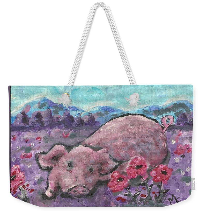 Pig Painting Weekender Tote Bag featuring the painting Playful Pig by Monica Resinger