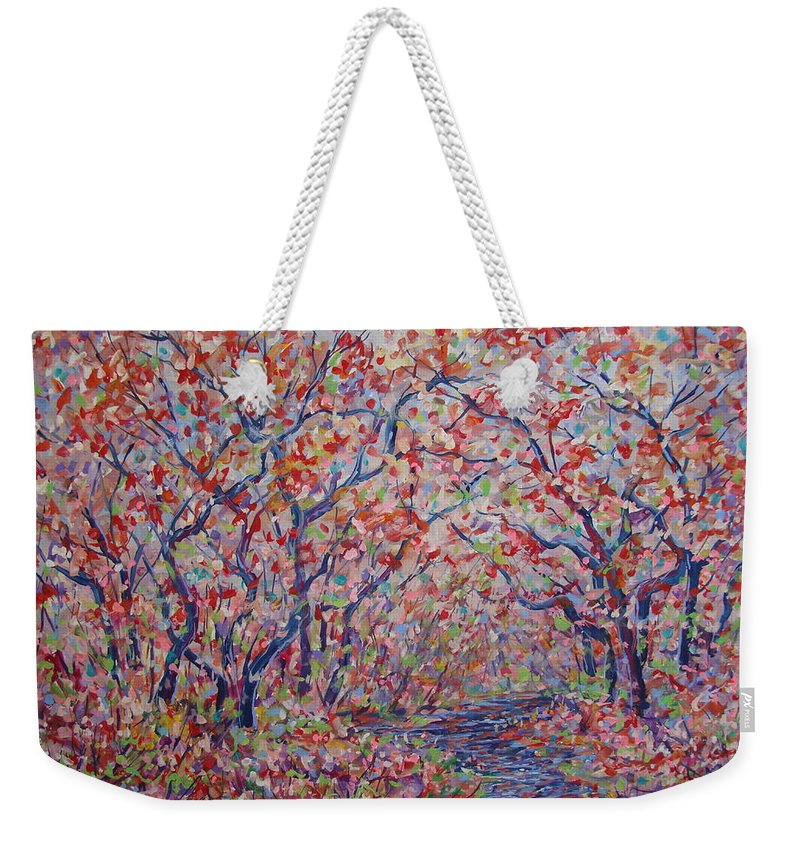 Landscape Weekender Tote Bag featuring the painting Poetic Forest. by Leonard Holland