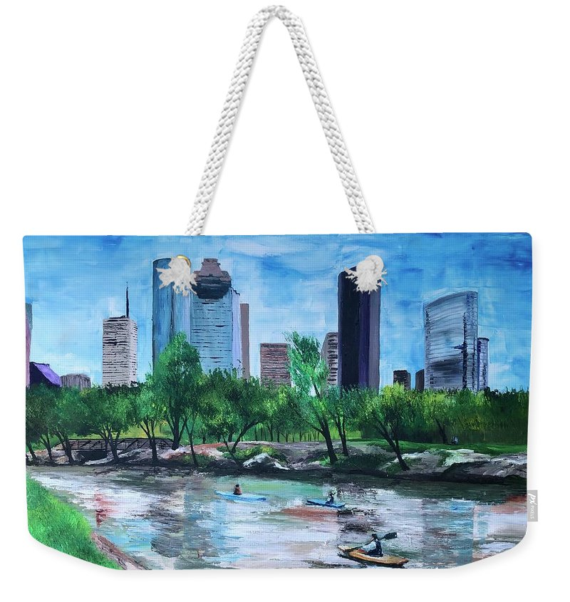 River Weekender Tote Bag featuring the painting Pon de River by Lauren Luna
