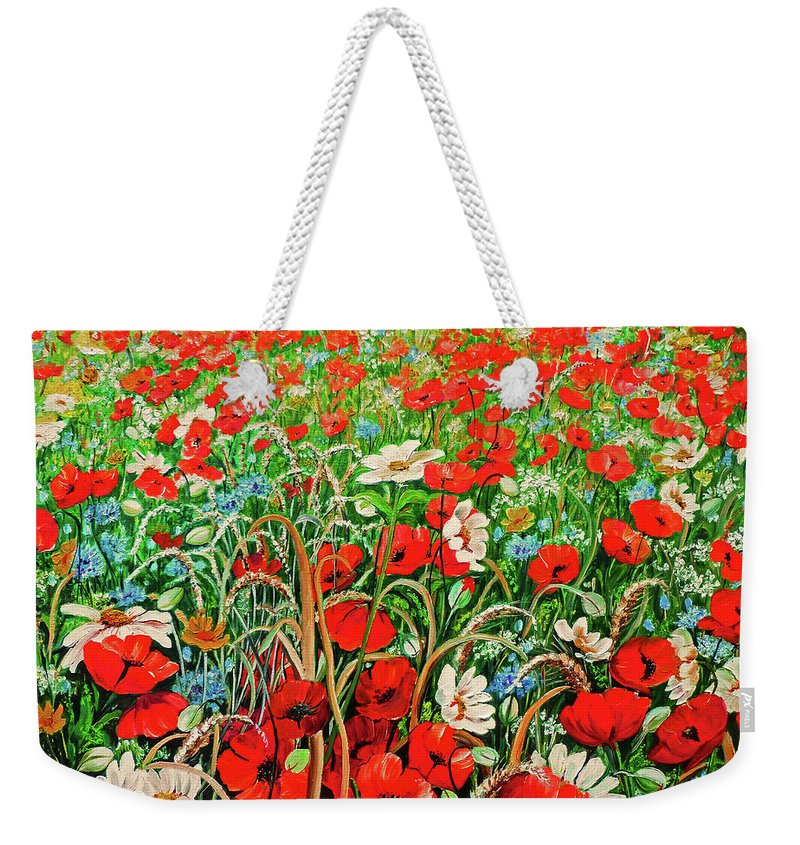 Floral Painting Flower Painting Red Poppies Painting Daisy Painting Field Poppies Painting Field Poppies Floral Flowers Wild Botanical Painting Red Painting Greeting Card Painting Weekender Tote Bag featuring the painting Poppies In The Wild by Karin Dawn Kelshall- Best