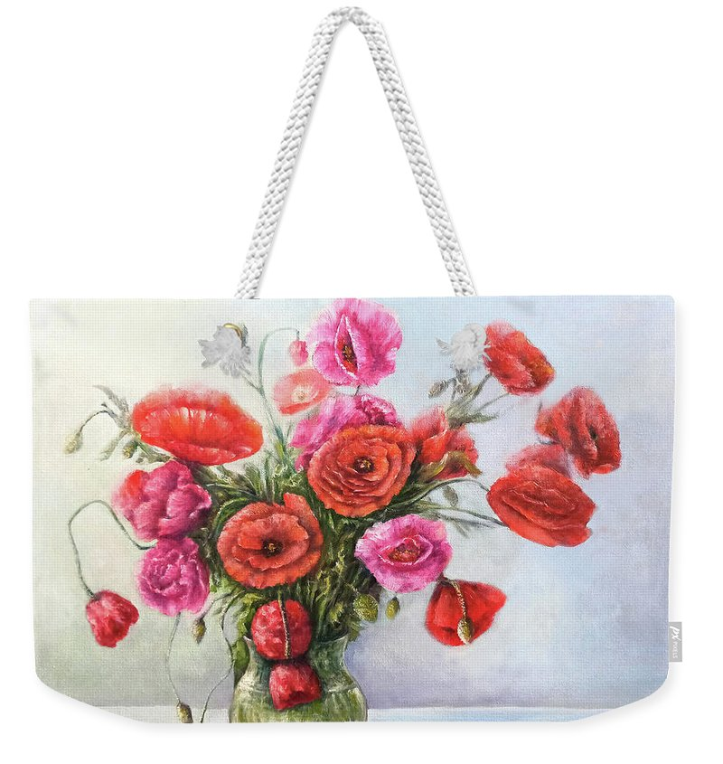 Poppy Weekender Tote Bag featuring the painting Poppy flowers by Natalja Picugina