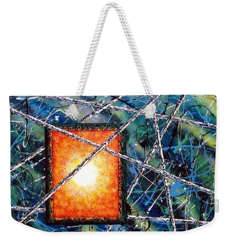 Contemporary / Abstract Weekender Tote Bag featuring the painting Portal by Micah Guenther