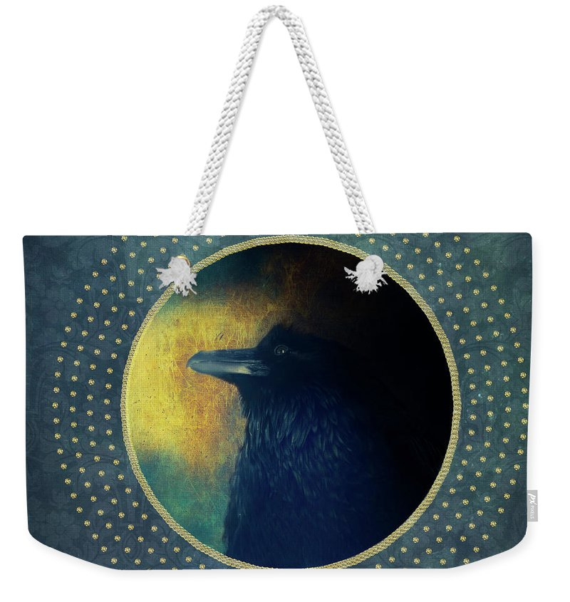 Portrait Weekender Tote Bag featuring the photograph Portrait Of A Raven by Priska Wettstein