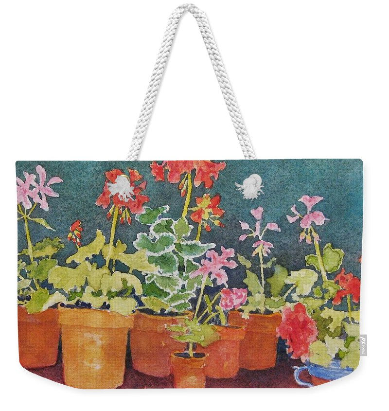 Florals Weekender Tote Bag featuring the painting Potting Shed by Mary Ellen Mueller Legault