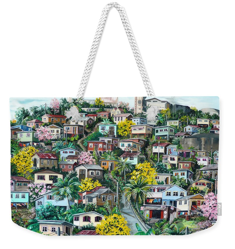 Landscape Painting Cityscape Painting Original Oil Painting  Blossoming Poui Tree Painting Lavantille Hill Trinidad And Tobago Painting Caribbean Painting Tropical Painting Weekender Tote Bag featuring the painting Poui On The Hill by Karin Dawn Kelshall- Best