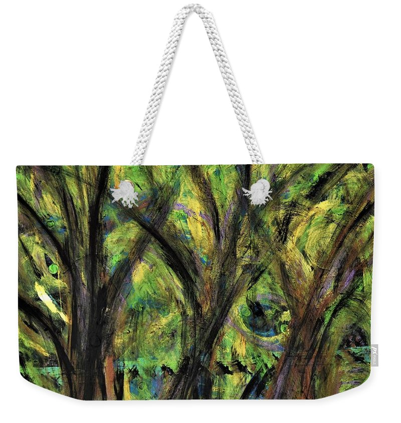 Fall Weekender Tote Bag featuring the painting Prairie Gusting by Pam Roth O'Mara