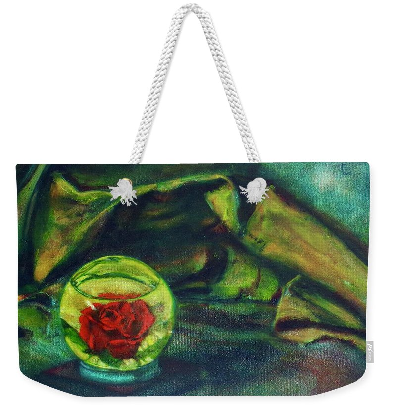Oil Painting On Canvas Weekender Tote Bag featuring the painting Preserved Rose . . Draped Canvas by Sean Connolly