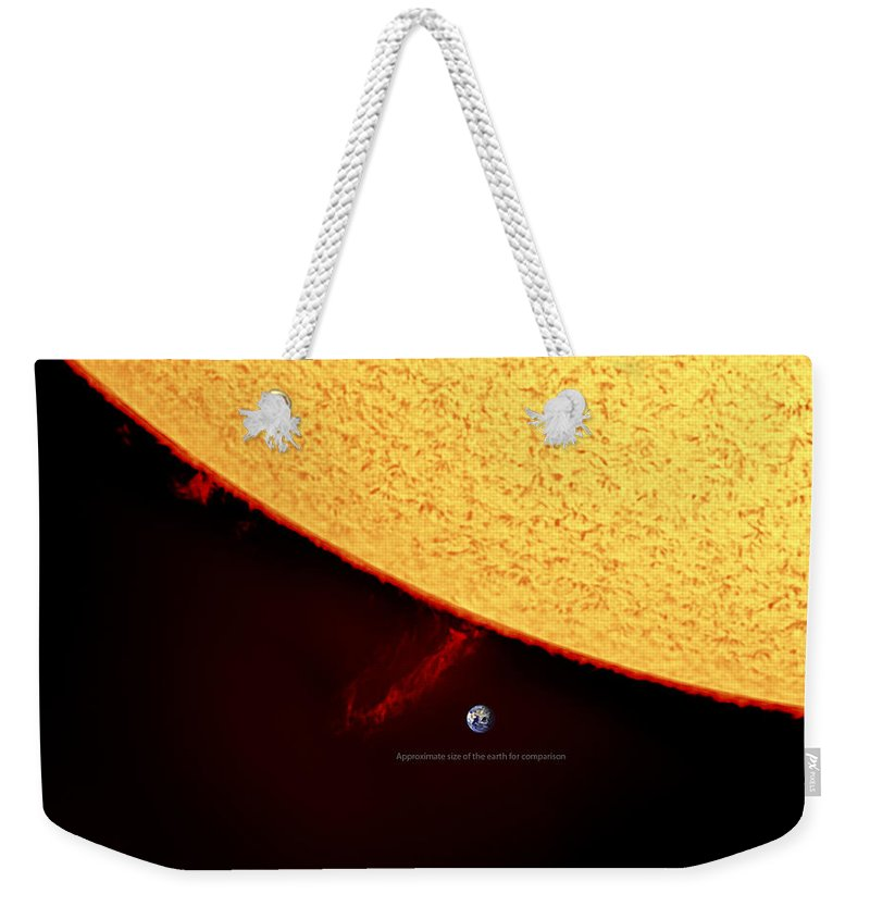Solarprominence Weekender Tote Bag featuring the photograph Prominence by Prabhu Astrophotography