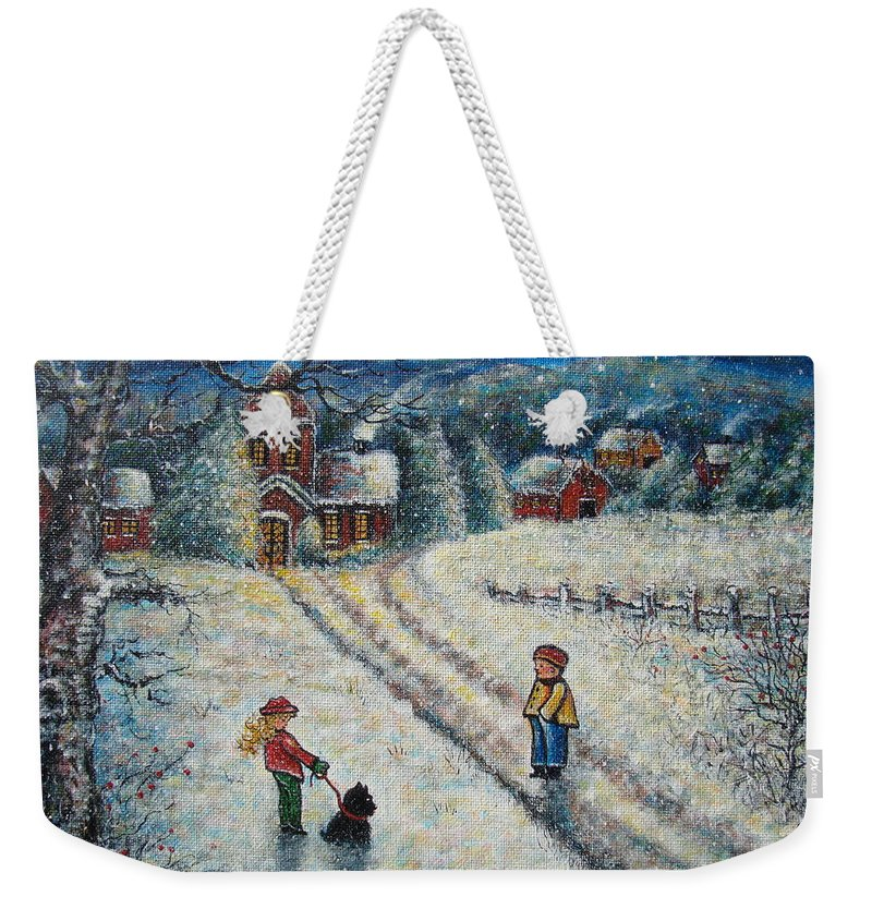 Landscape Weekender Tote Bag featuring the painting Puff and Kassidy by Natalie Holland
