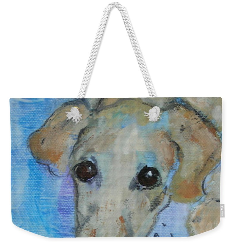 Acrylic Weekender Tote Bag featuring the drawing Pupster by Cori Solomon