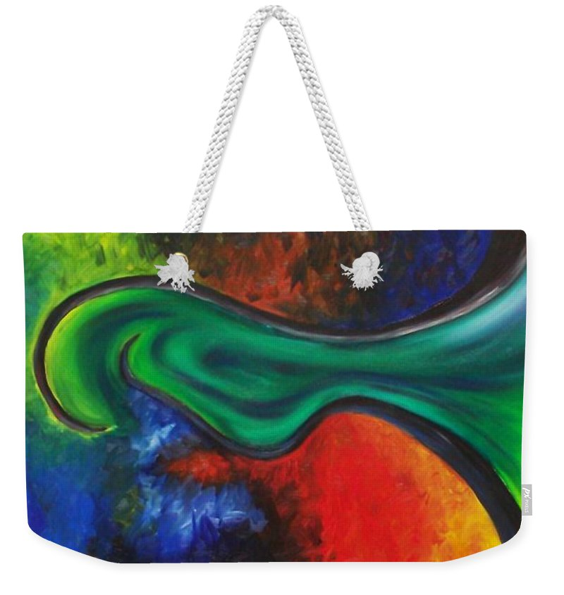Abstract Weekender Tote Bag featuring the painting Purgatory by Micah Guenther