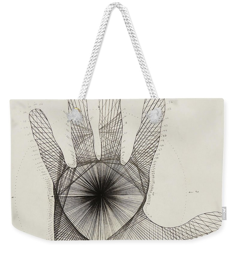 Quantum Weekender Tote Bag featuring the drawing Quantum Hand by Jason Padgett