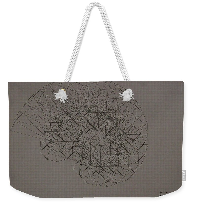 Fractal Weekender Tote Bag featuring the drawing Quantum Sea Shell by Jason Padgett