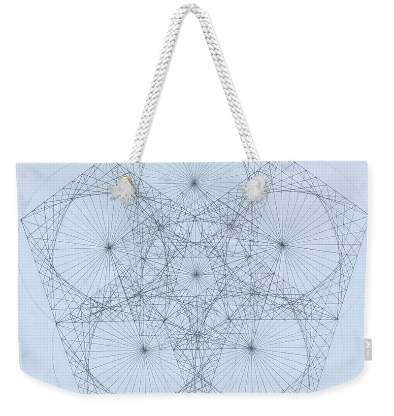 Star Weekender Tote Bag featuring the drawing Quantum Star high res. by Jason Padgett