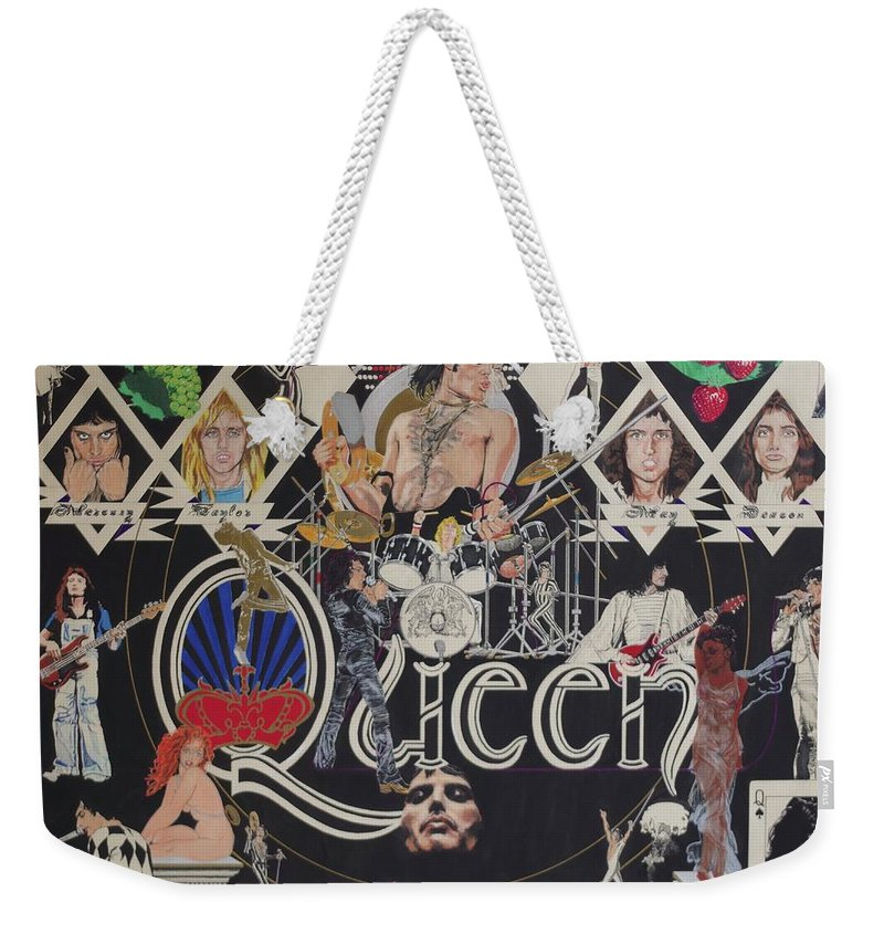 Queen Weekender Tote Bag featuring the drawing Queen - Black Queen White Queen by Sean Connolly