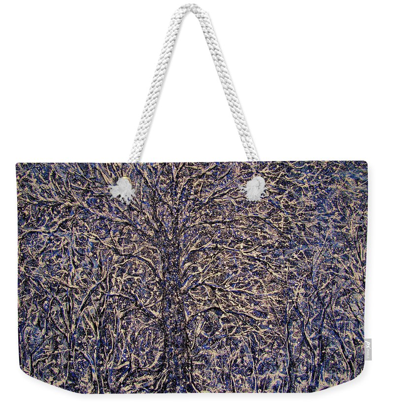 Landscape Weekender Tote Bag featuring the painting Quiet Snowfall. by Natalie Holland