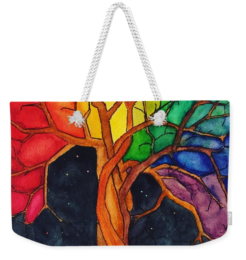 Rainbow Weekender Tote Bag featuring the painting Rainbow Tree with Night Sky by Vonda Drees