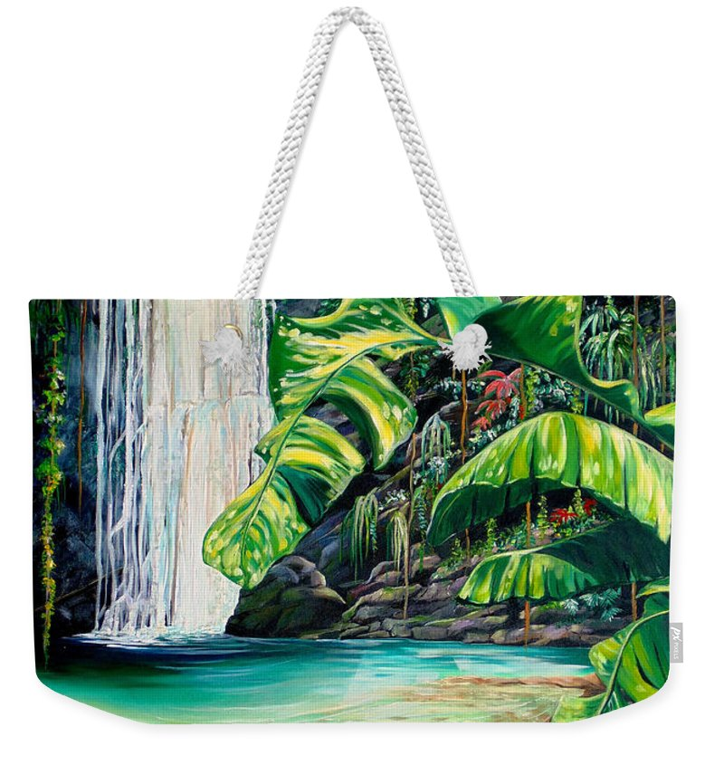 Water Fall Painting Landscape Painting Rain Forest Painting River Painting Caribbean Painting Original Oil Painting Paria Northern Mountains Of Trinidad Painting Tropical Painting Weekender Tote Bag featuring the painting Rainforest Falls Trinidad.. by Karin Dawn Kelshall- Best