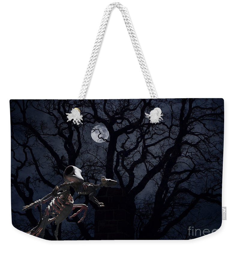 Raven Weekender Tote Bag featuring the photograph Raven and Rat Skeleton in Moonlight - Halloween by Colleen Cornelius
