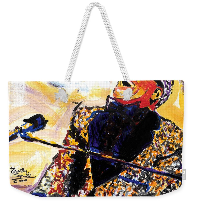 Everett Spruill Weekender Tote Bag featuring the painting Ray Charles by Everett Spruill