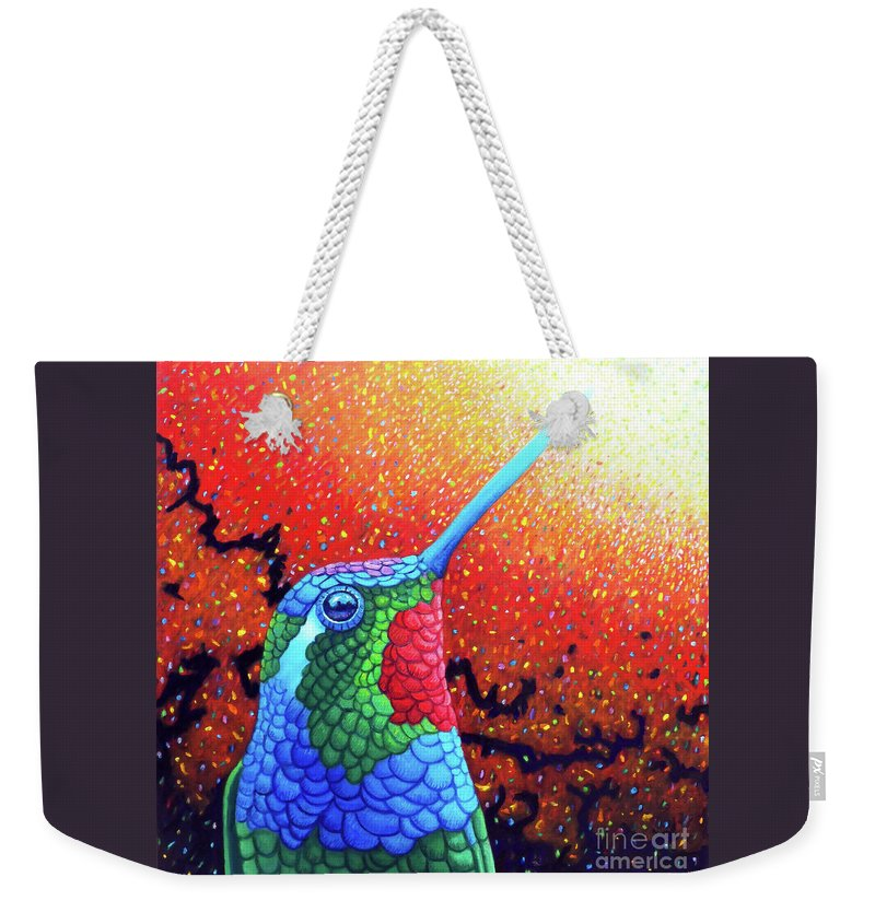 Hummingbird Weekender Tote Bag featuring the painting Reach For It by Brian Commerford