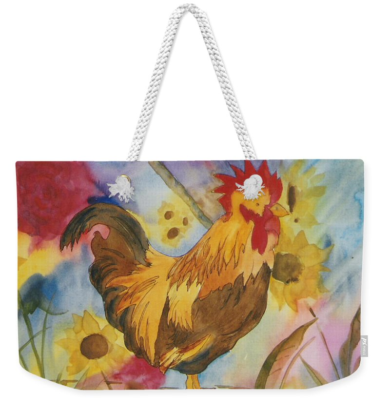 Watercolor Weekender Tote Bag featuring the painting Ready to Crow by Mary Ellen Mueller Legault