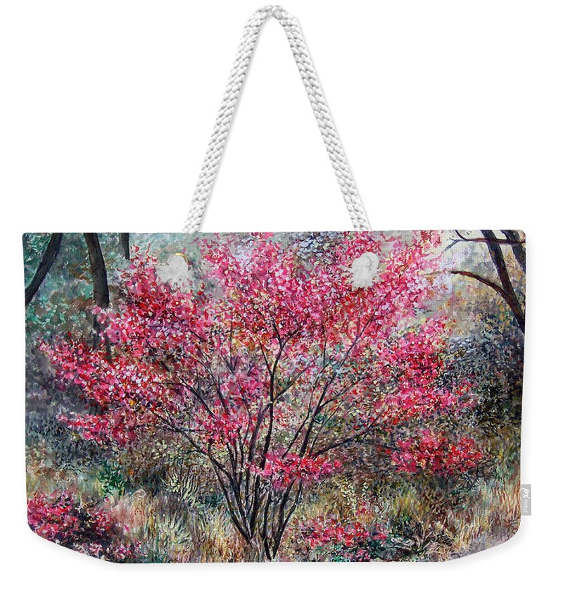 Landscape Weekender Tote Bag featuring the painting Red Bush by Valerie Meotti
