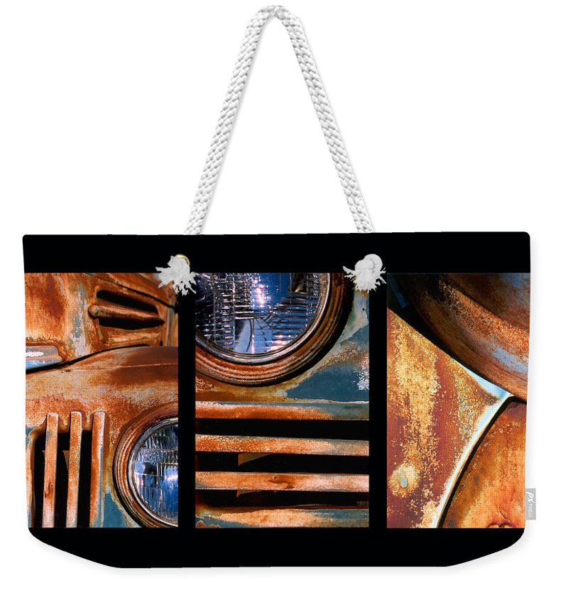 Abstract Weekender Tote Bag featuring the photograph Red Head On by Steve Karol