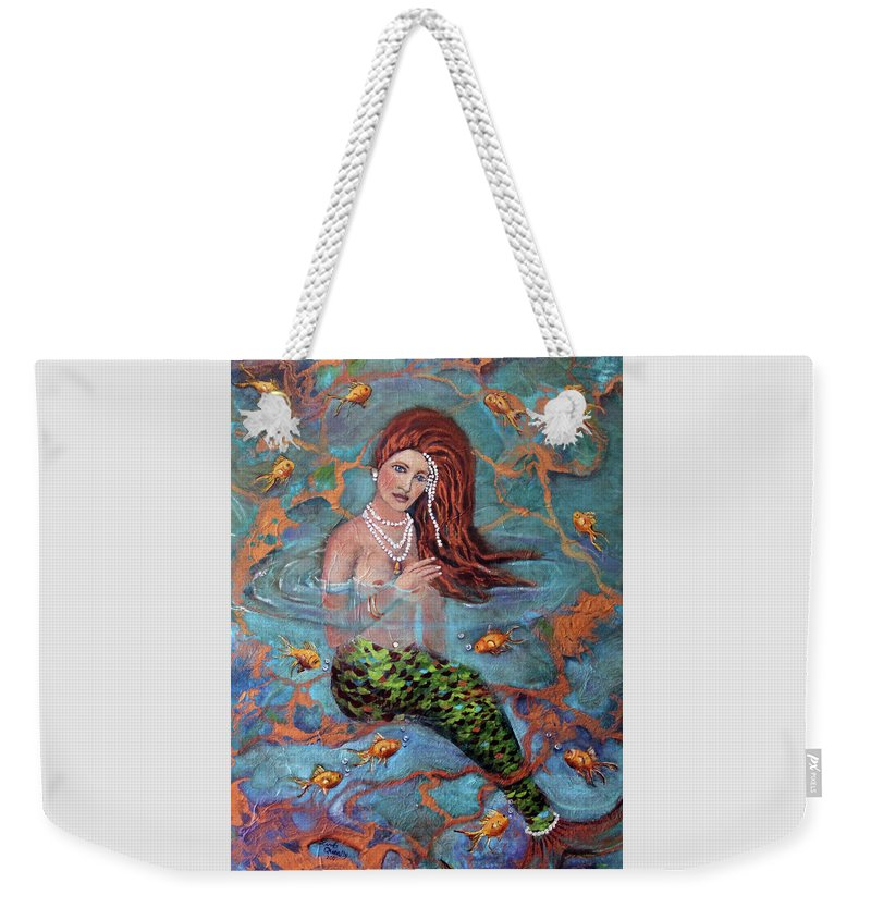 Blue Weekender Tote Bag featuring the painting Red Headed Mermaid Ophelia Painting by Linda Queally by Linda Queally