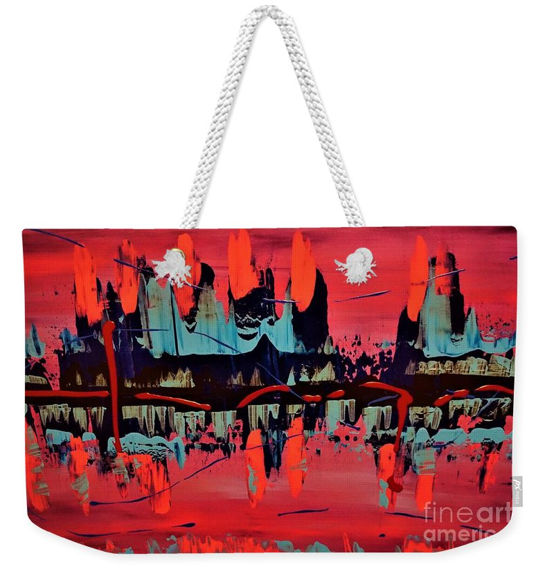 Red Weekender Tote Bag featuring the painting RED by Jimmy Clark