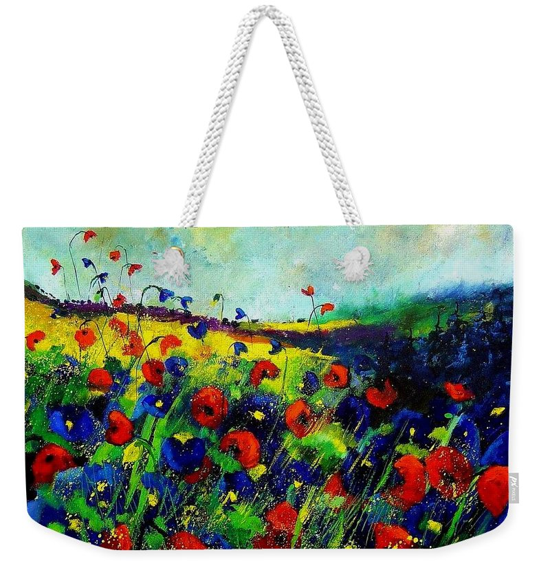 Flowers Weekender Tote Bag featuring the painting Reda nd blue poppies 68 by Pol Ledent