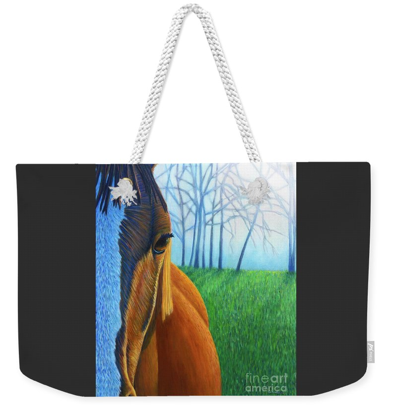 Horse Weekender Tote Bag featuring the painting Remember by Brian Commerford