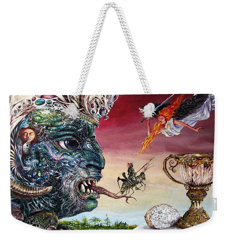 Surrealism Weekender Tote Bag featuring the painting Revelation 20 by Otto Rapp