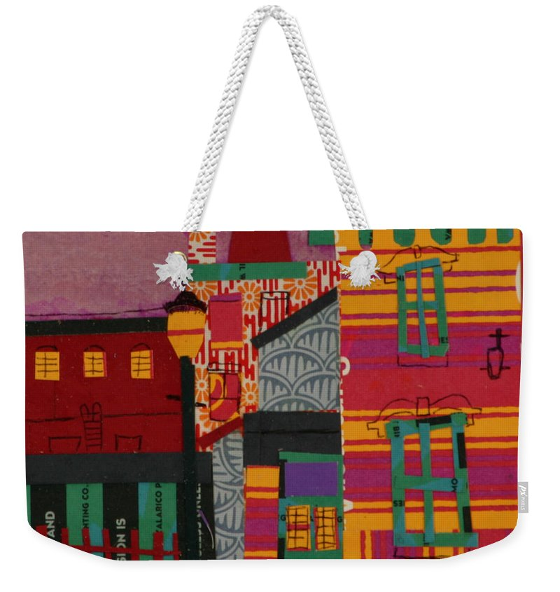 Lowell Weekender Tote Bag featuring the mixed media Revolving Museum by Debra Bretton Robinson