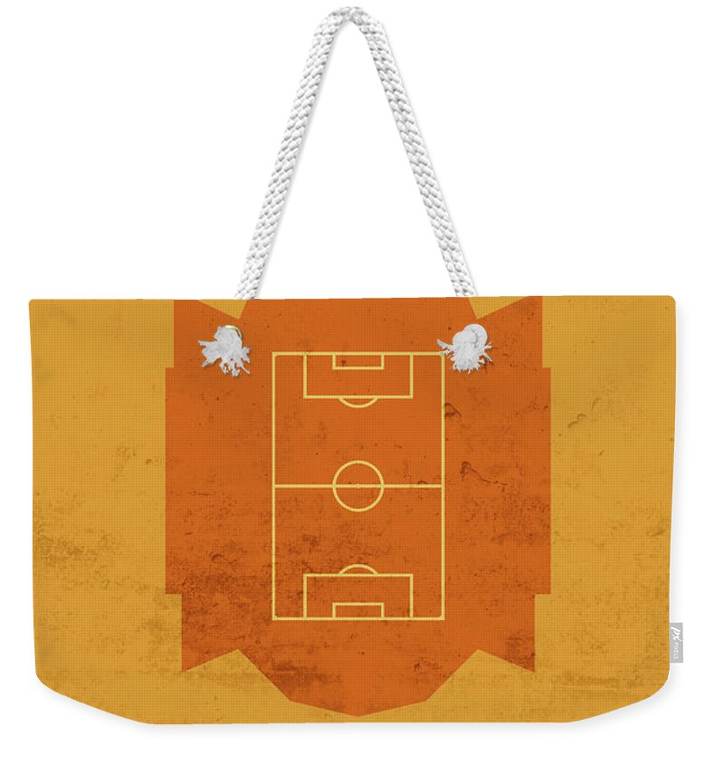 Rio Weekender Tote Bag featuring the mixed media Rio Ave Stadium Football Soccer Minimalist Series by Design Turnpike