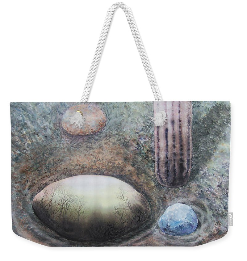 Abstract Weekender Tote Bag featuring the painting River Rock 1 by Valerie Meotti