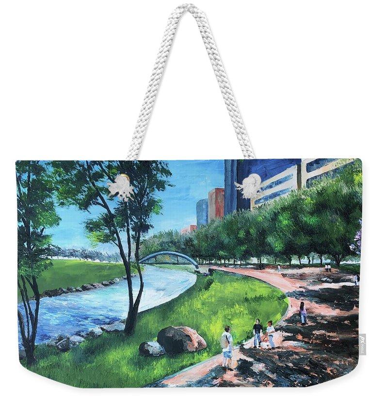 River Weekender Tote Bag featuring the painting Riverwalk by Lauren Luna