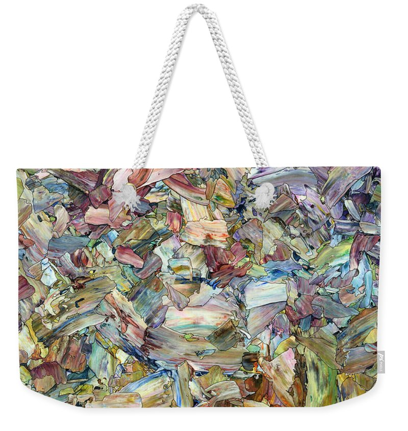 Abstract Weekender Tote Bag featuring the painting Roadside Fragmentation by James W Johnson