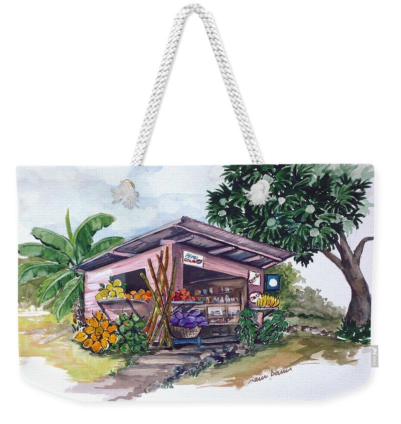 Caribbean Painting Little Shop Fruit & Veg Shop Painting Caribbean Tropical Painting Greeting Card Painting Weekender Tote Bag featuring the painting Roadside Vendor by Karin Dawn Kelshall- Best