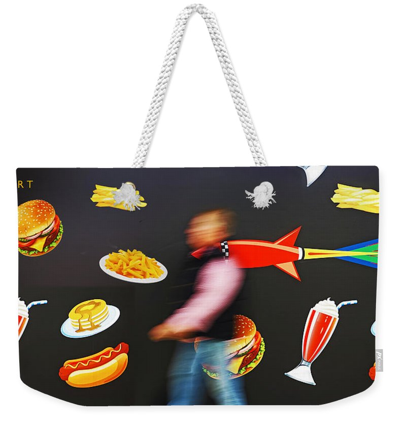 Rocket Weekender Tote Bag featuring the painting Rocket Lunch by Charles Stuart