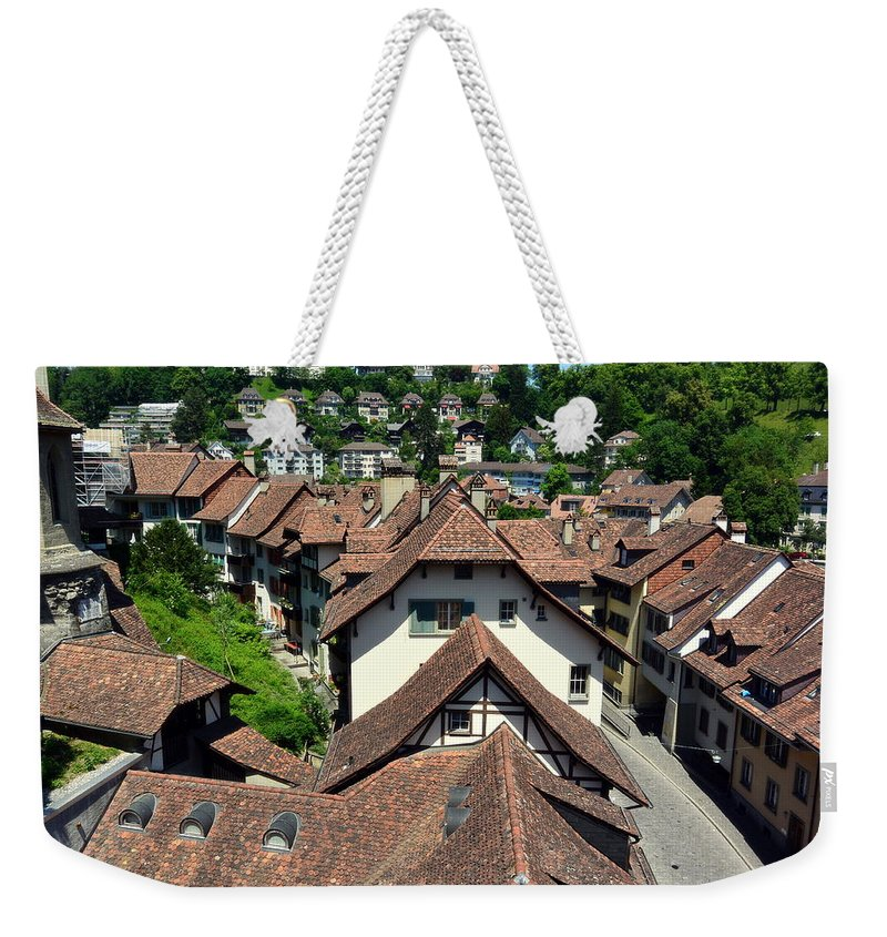 Red Rooftops Weekender Tote Bag featuring the photograph Rooftops of Medieval Bern, Switzerland by Two Small Potatoes
