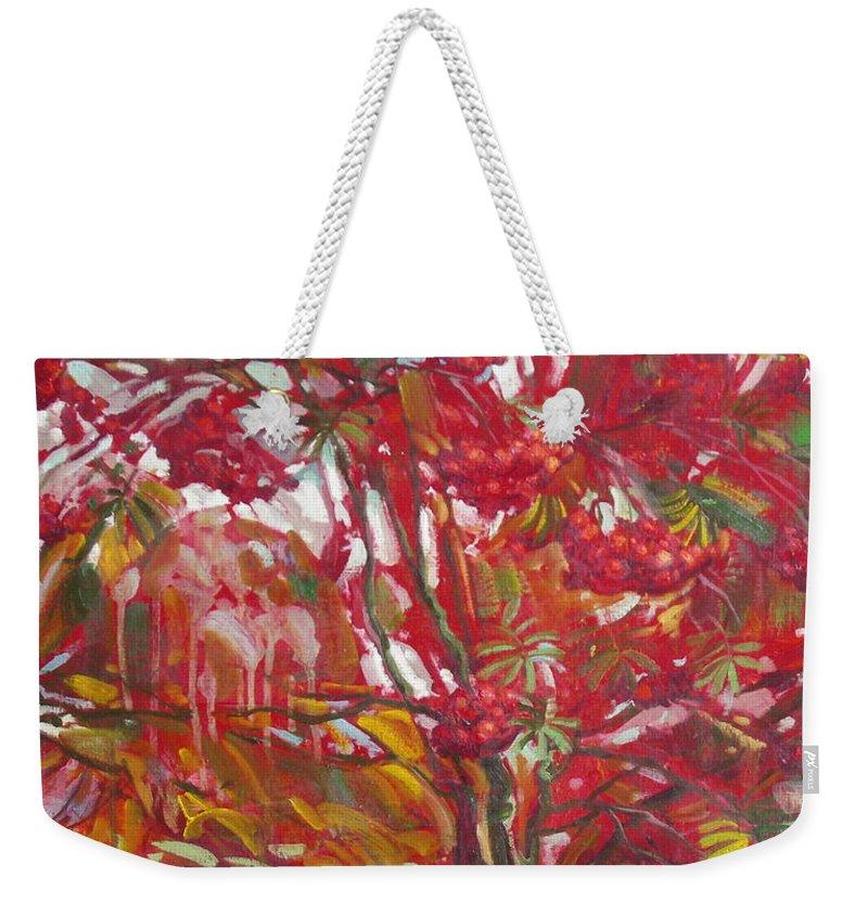 Oil Weekender Tote Bag featuring the painting Rowan tree by Sergey Ignatenko