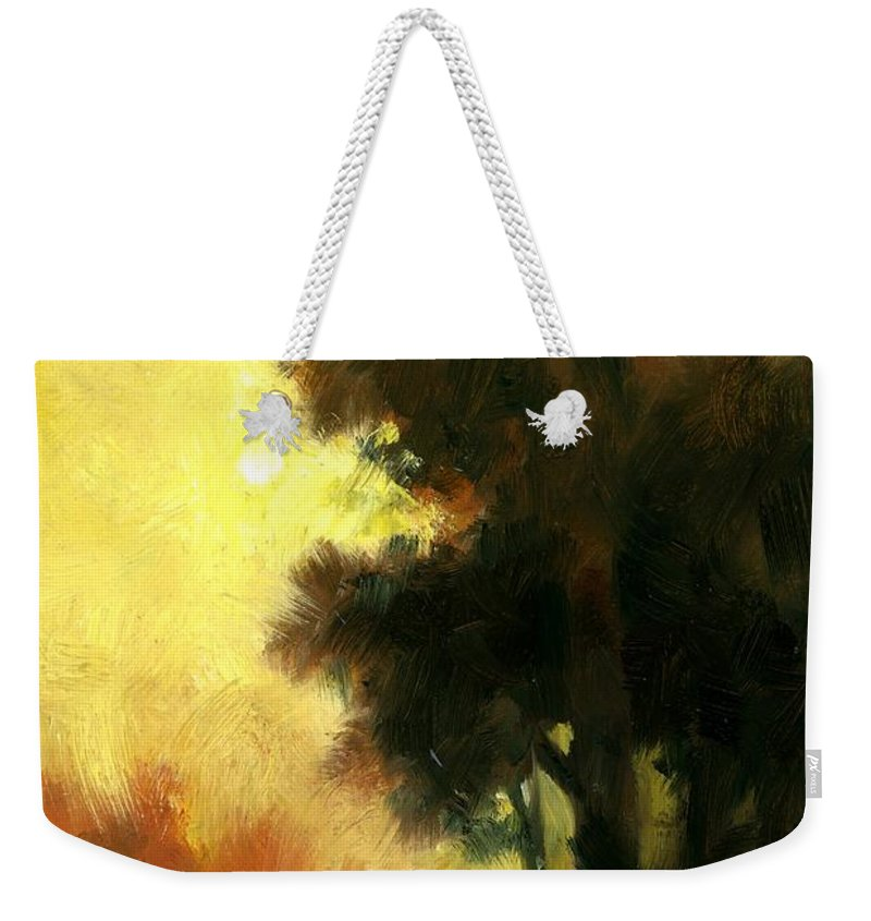 Landscape Weekender Tote Bag featuring the painting Sailors Delight by Jim Gola