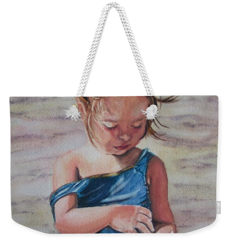 Beach Weekender Tote Bag featuring the painting Sand by Karen Ilari
